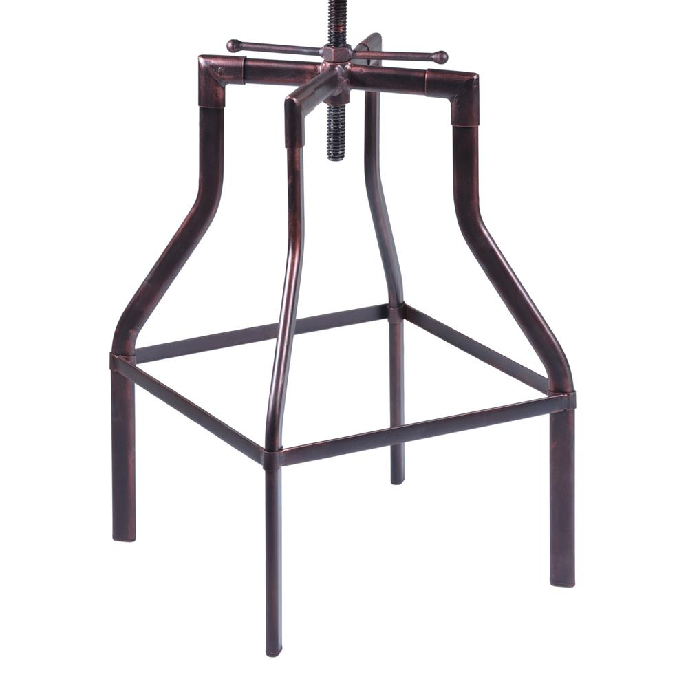 Armen Living Concord Adjustable Barstool in Industrial Copper finish with Pine Wood seat. Picture 4