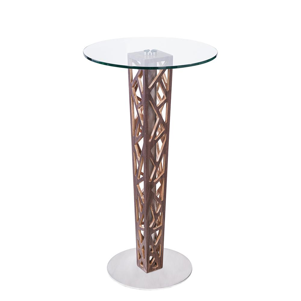 Bar Table with Walnut Veneer column and Brushed Stainless Steel finish with Clear Tempered Glass Top. Picture 1