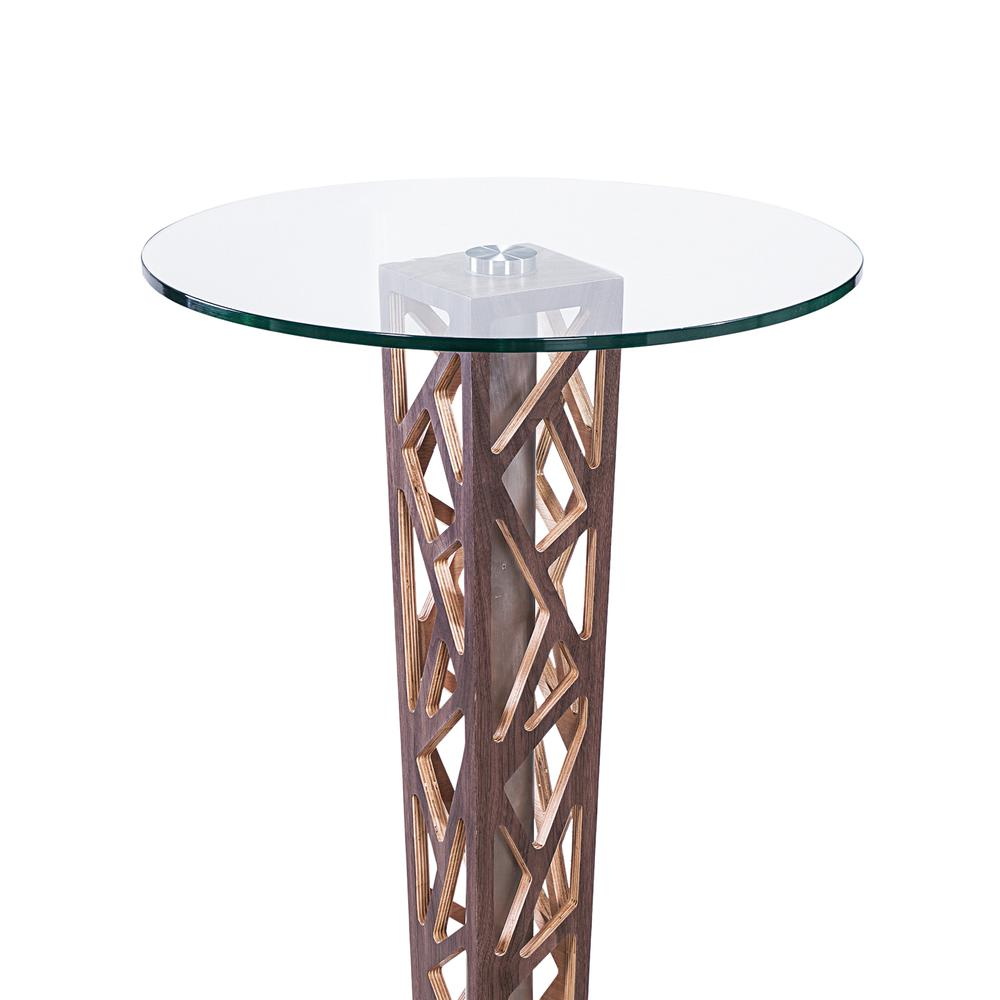 Bar Table with Walnut Veneer column and Brushed Stainless Steel finish with Clear Tempered Glass Top. Picture 2