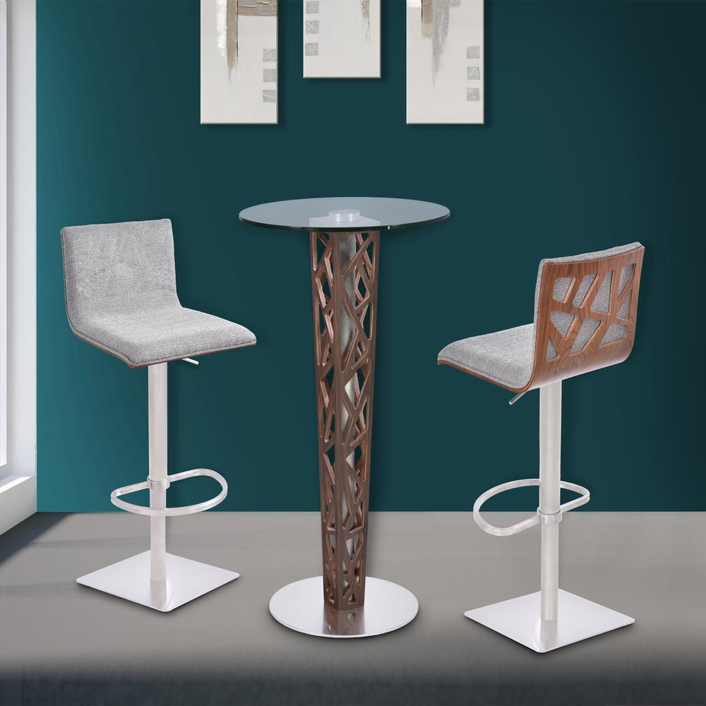 Bar Table with Walnut Veneer column and Brushed Stainless Steel finish with Clear Tempered Glass Top. Picture 5