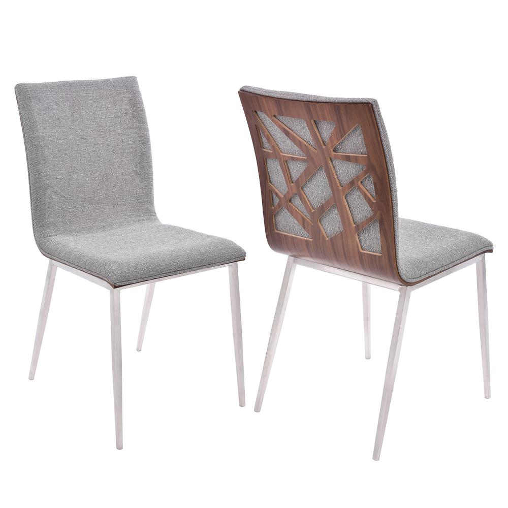 Dining Chair in Brushed Stainless Steel finish with Grey Fabric and Walnut Back - Set of 2. Picture 1