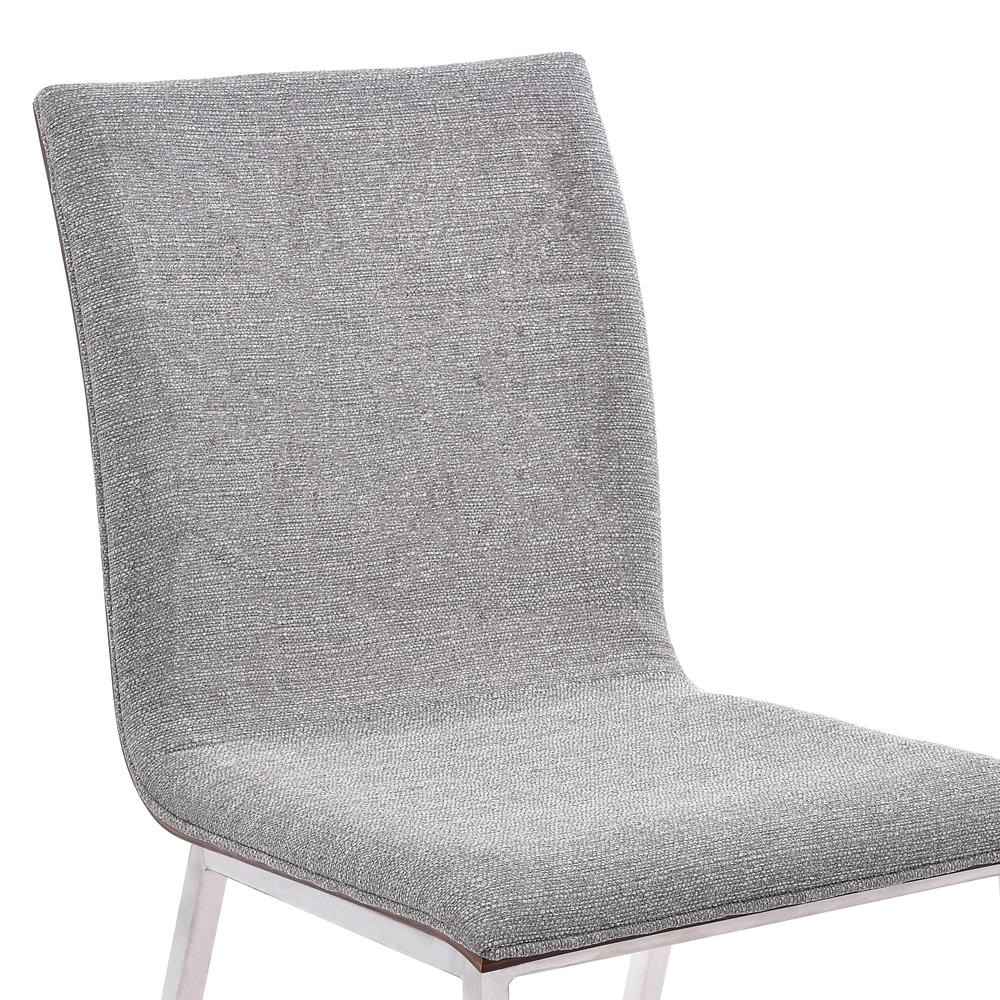 Dining Chair in Brushed Stainless Steel finish with Grey Fabric and Walnut Back - Set of 2. Picture 3