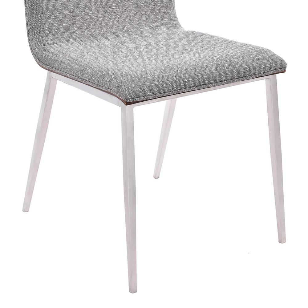 Dining Chair in Brushed Stainless Steel finish with Grey Fabric and Walnut Back - Set of 2. Picture 4