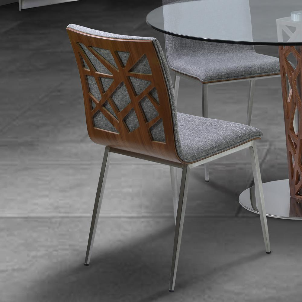 Dining Chair in Brushed Stainless Steel finish with Grey Fabric and Walnut Back - Set of 2. Picture 5