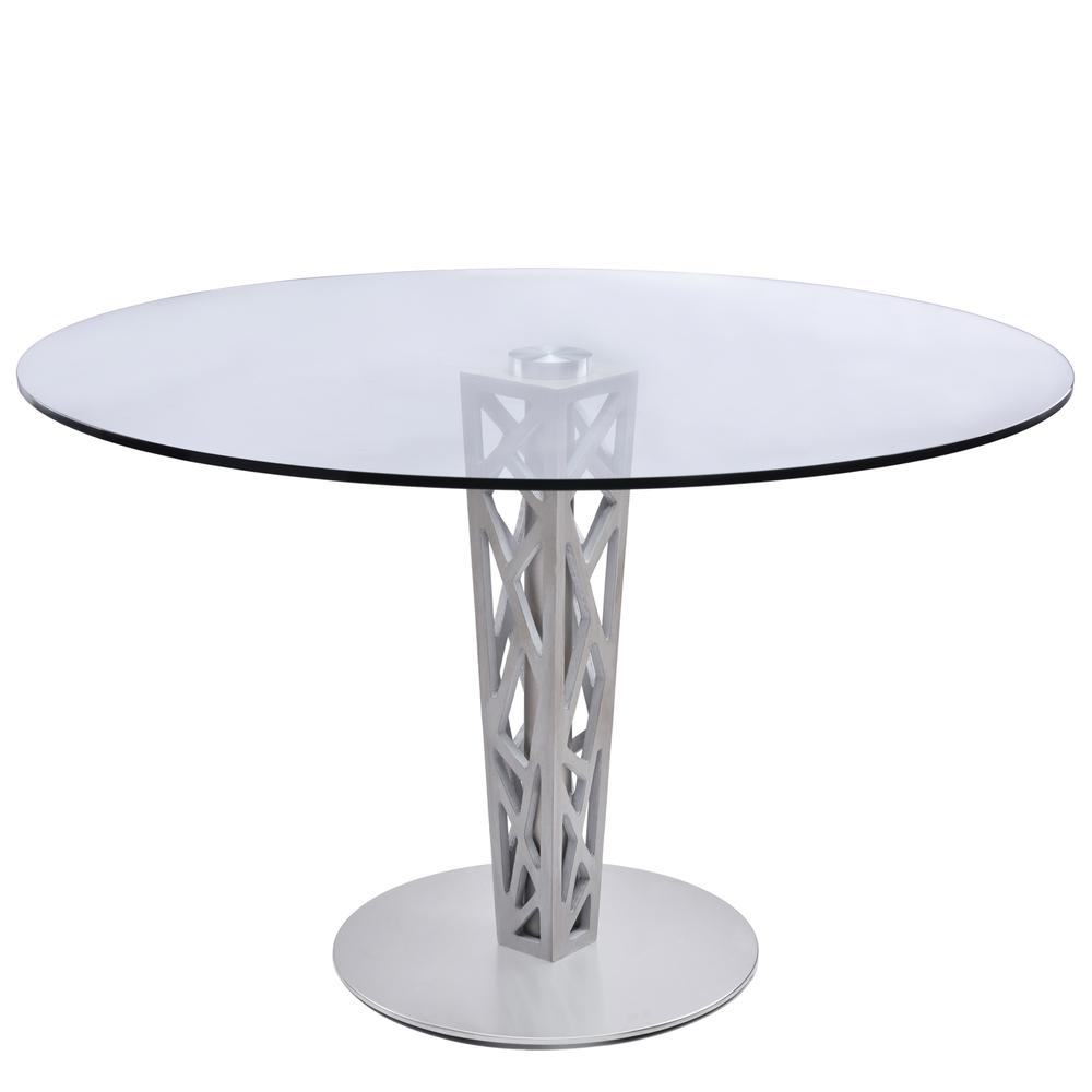 """Armen Living Crystal 48"""" Round Dining Table in Gray Walnut Veneer column and Brushed Stainless Steel finish with Clear Tempered Glass Top. Picture 1"""