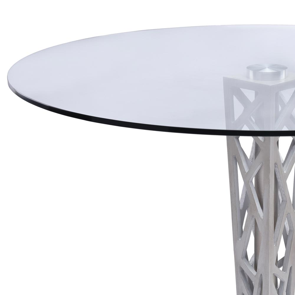 """Armen Living Crystal 48"""" Round Dining Table in Gray Walnut Veneer column and Brushed Stainless Steel finish with Clear Tempered Glass Top. Picture 2"""