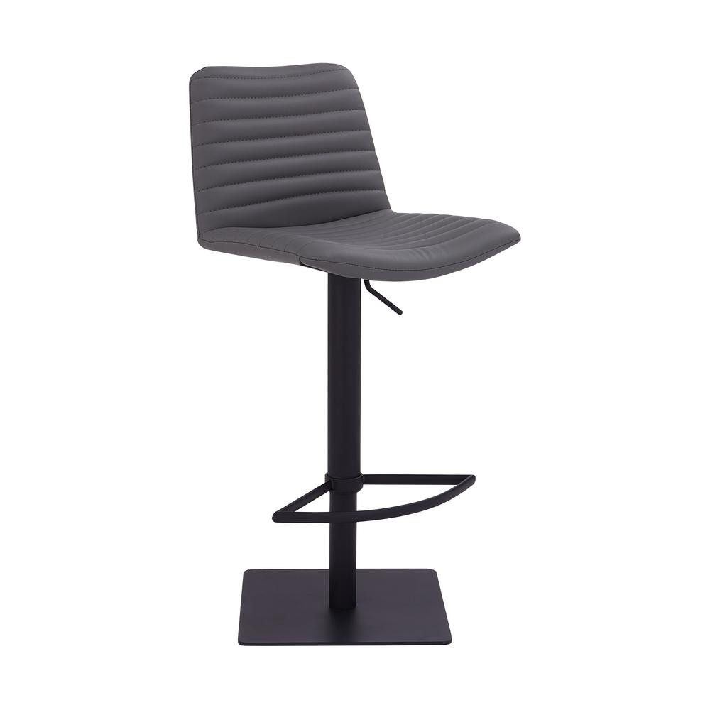 Contemporary Adjustable Barstool in Black Powder Coated Finish - Grey Faux Leather. Picture 1