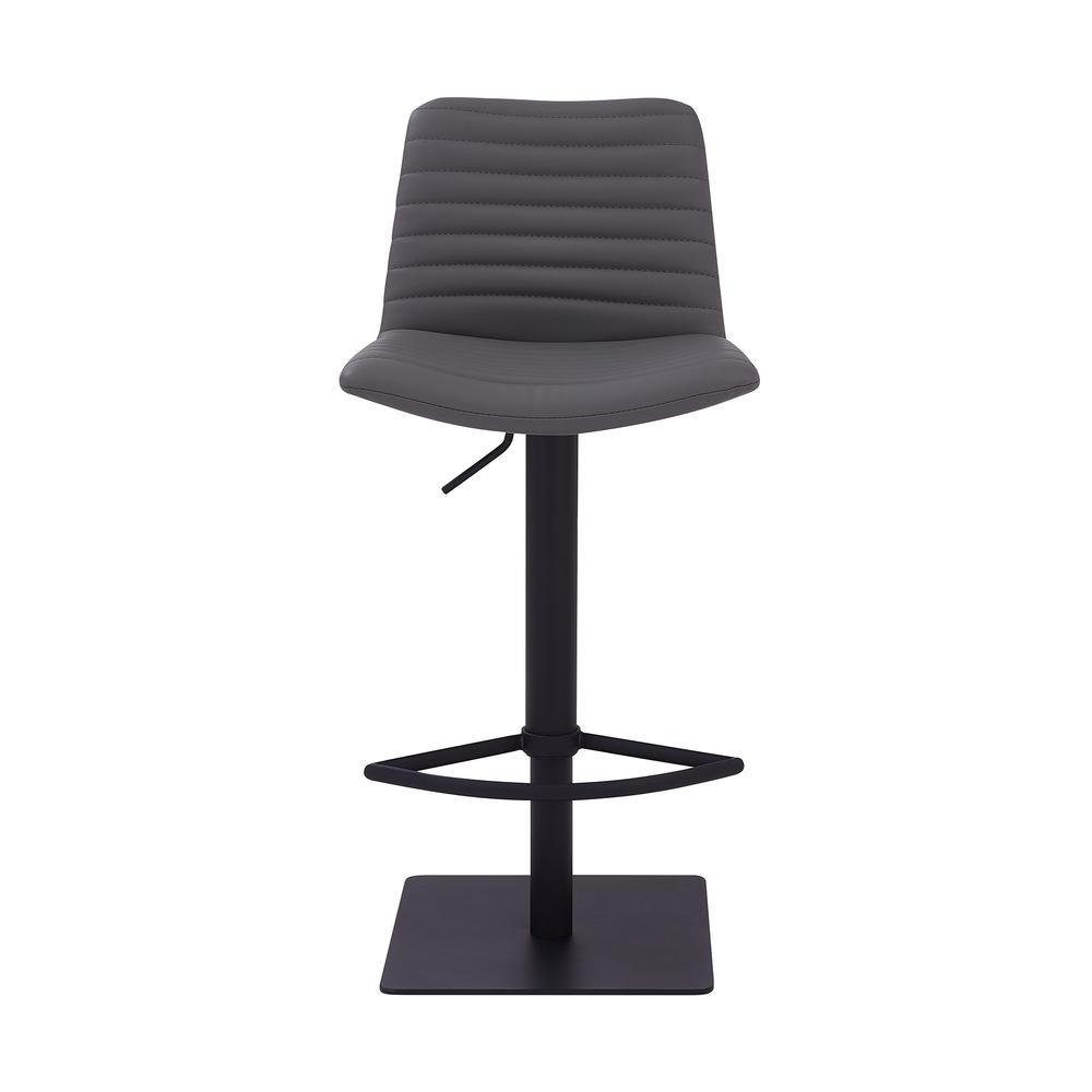 Contemporary Adjustable Barstool in Black Powder Coated Finish - Grey Faux Leather. Picture 2