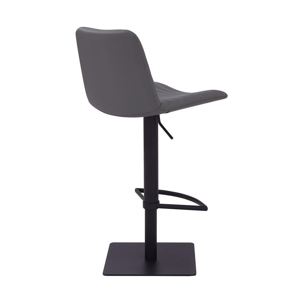 Contemporary Adjustable Barstool in Black Powder Coated Finish - Grey Faux Leather. Picture 3