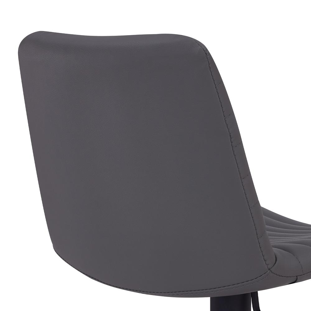 Contemporary Adjustable Barstool in Black Powder Coated Finish - Grey Faux Leather. Picture 5