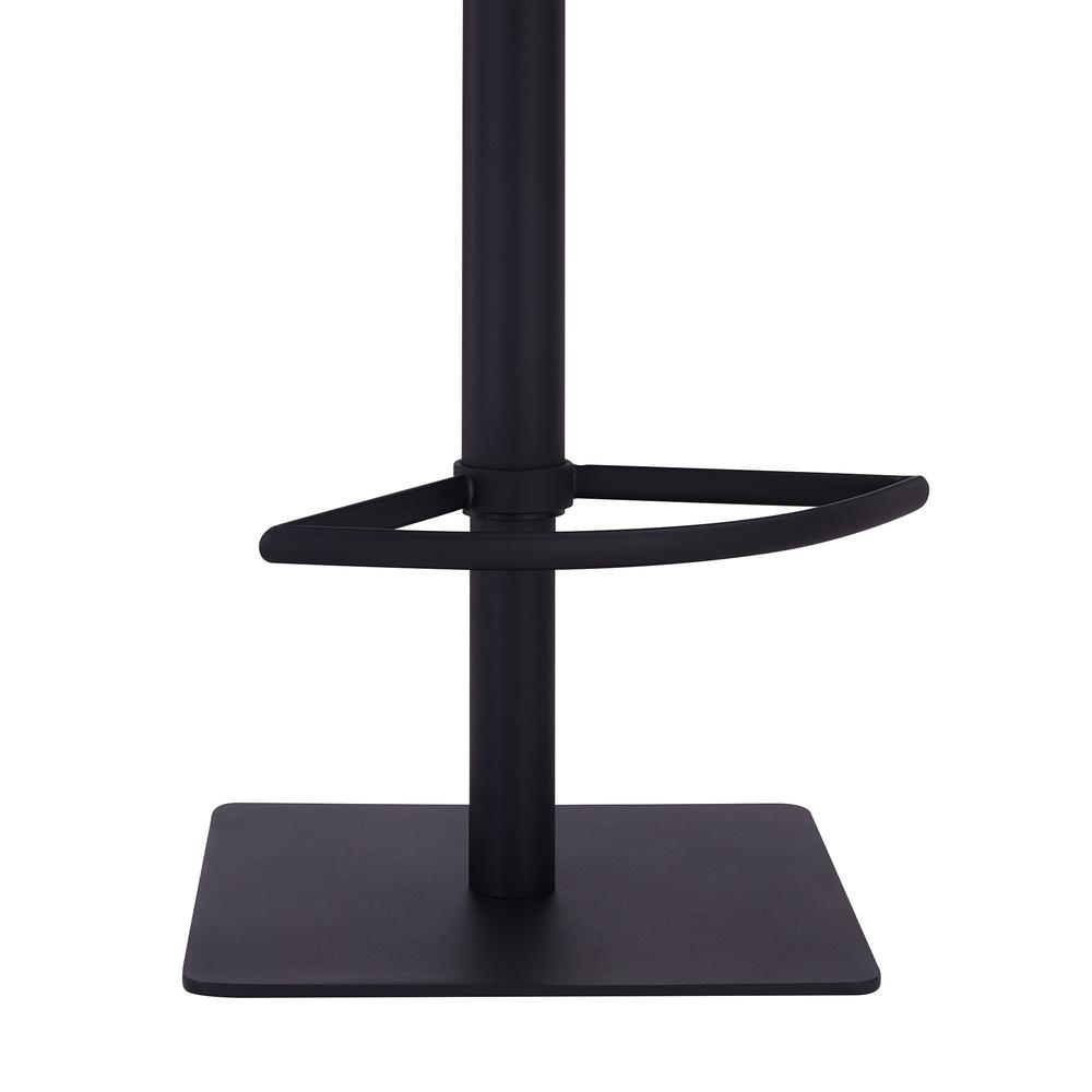 Contemporary Adjustable Barstool in Black Powder Coated Finish - Grey Faux Leather. Picture 6