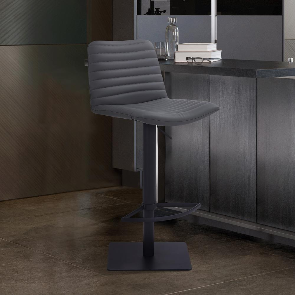 Contemporary Adjustable Barstool in Black Powder Coated Finish - Grey Faux Leather. Picture 8