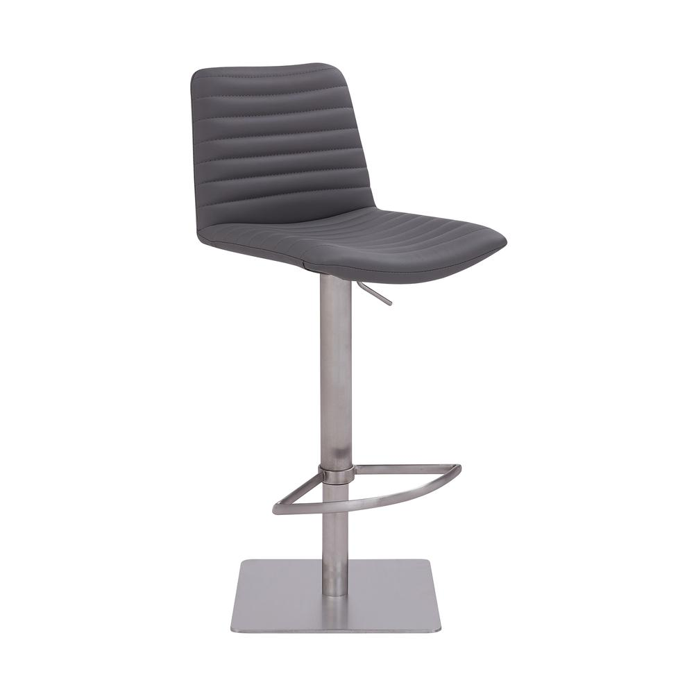 Contemporary Adjustable Barstool in Brushed Stainless Steel Finish and Grey Faux Leather. Picture 1