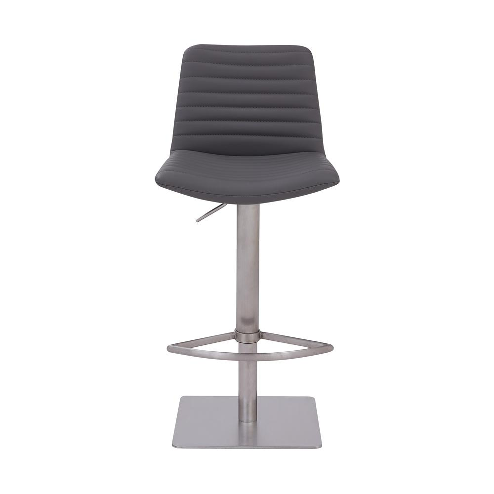 Contemporary Adjustable Barstool in Brushed Stainless Steel Finish and Grey Faux Leather. Picture 2