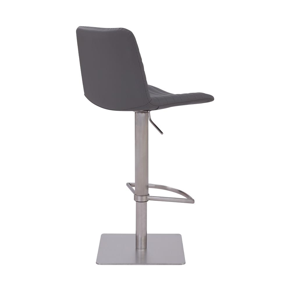 Contemporary Adjustable Barstool in Brushed Stainless Steel Finish and Grey Faux Leather. Picture 3
