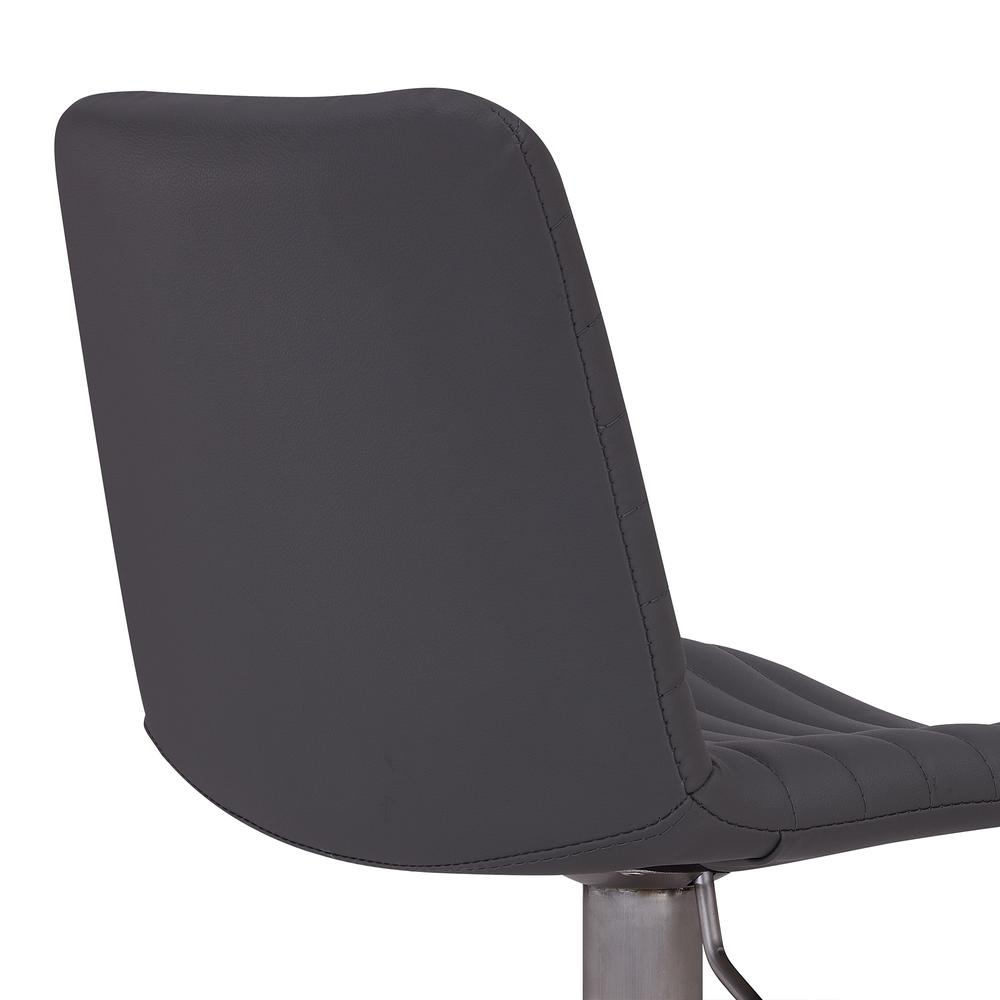 Contemporary Adjustable Barstool in Brushed Stainless Steel Finish and Grey Faux Leather. Picture 5