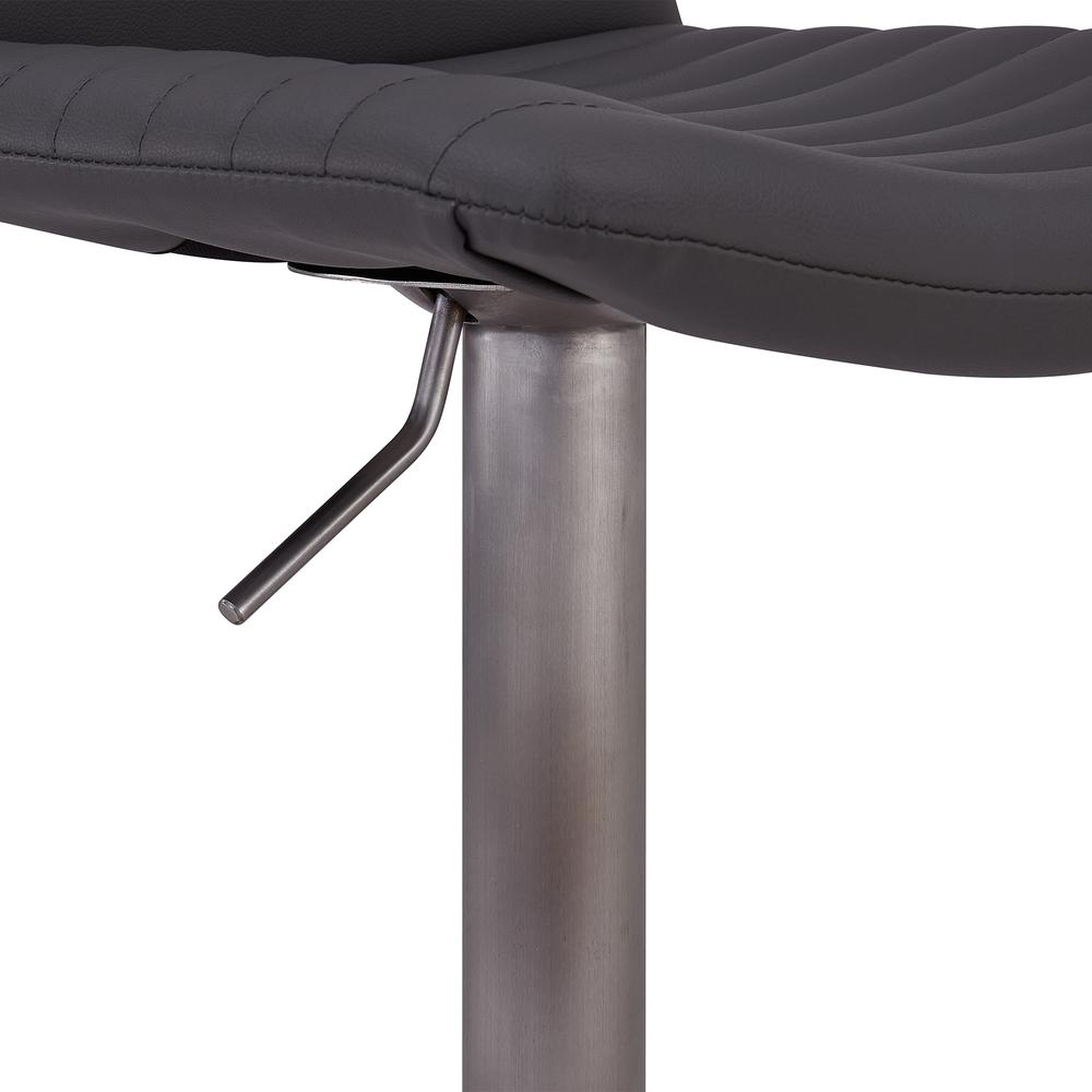 Contemporary Adjustable Barstool in Brushed Stainless Steel Finish and Grey Faux Leather. Picture 7