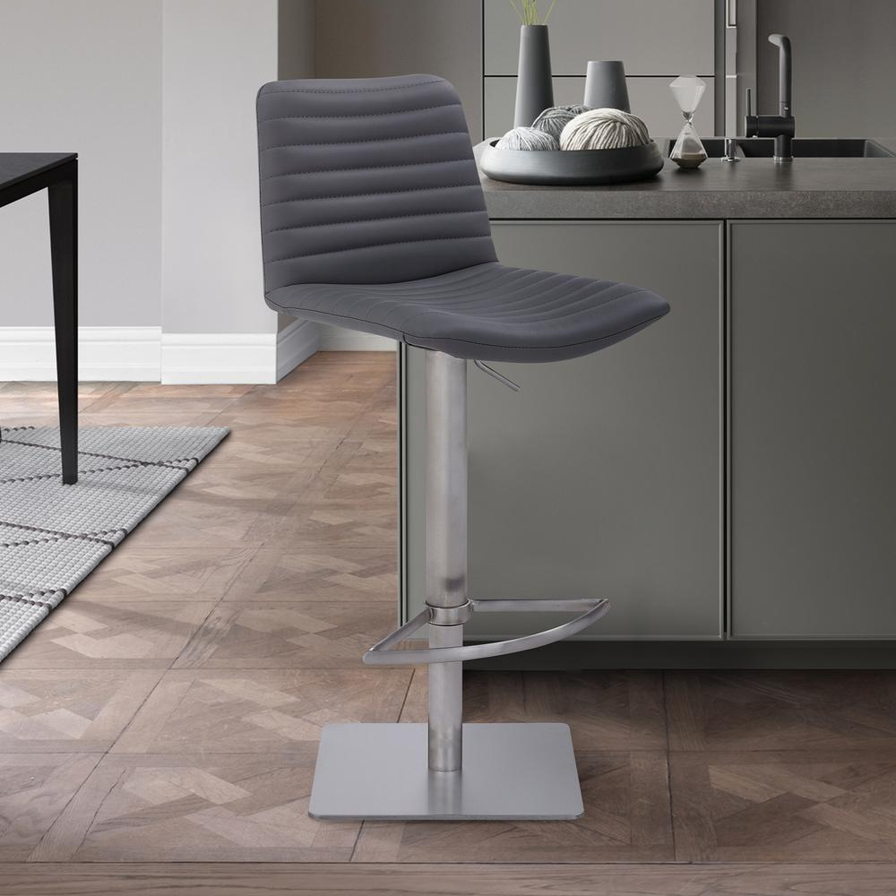 Contemporary Adjustable Barstool in Brushed Stainless Steel Finish and Grey Faux Leather. Picture 9