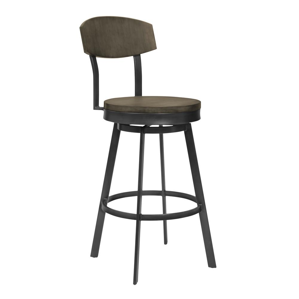 """30"""" Bar Height Barstool in Mineral Finish and Grey Walnut Seat. Picture 1"""