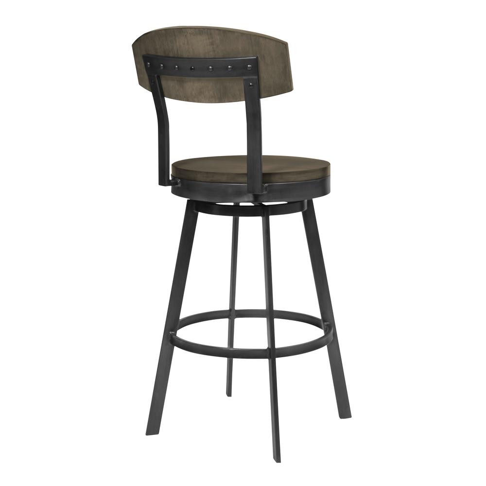 """30"""" Bar Height Barstool in Mineral Finish and Grey Walnut Seat. Picture 2"""