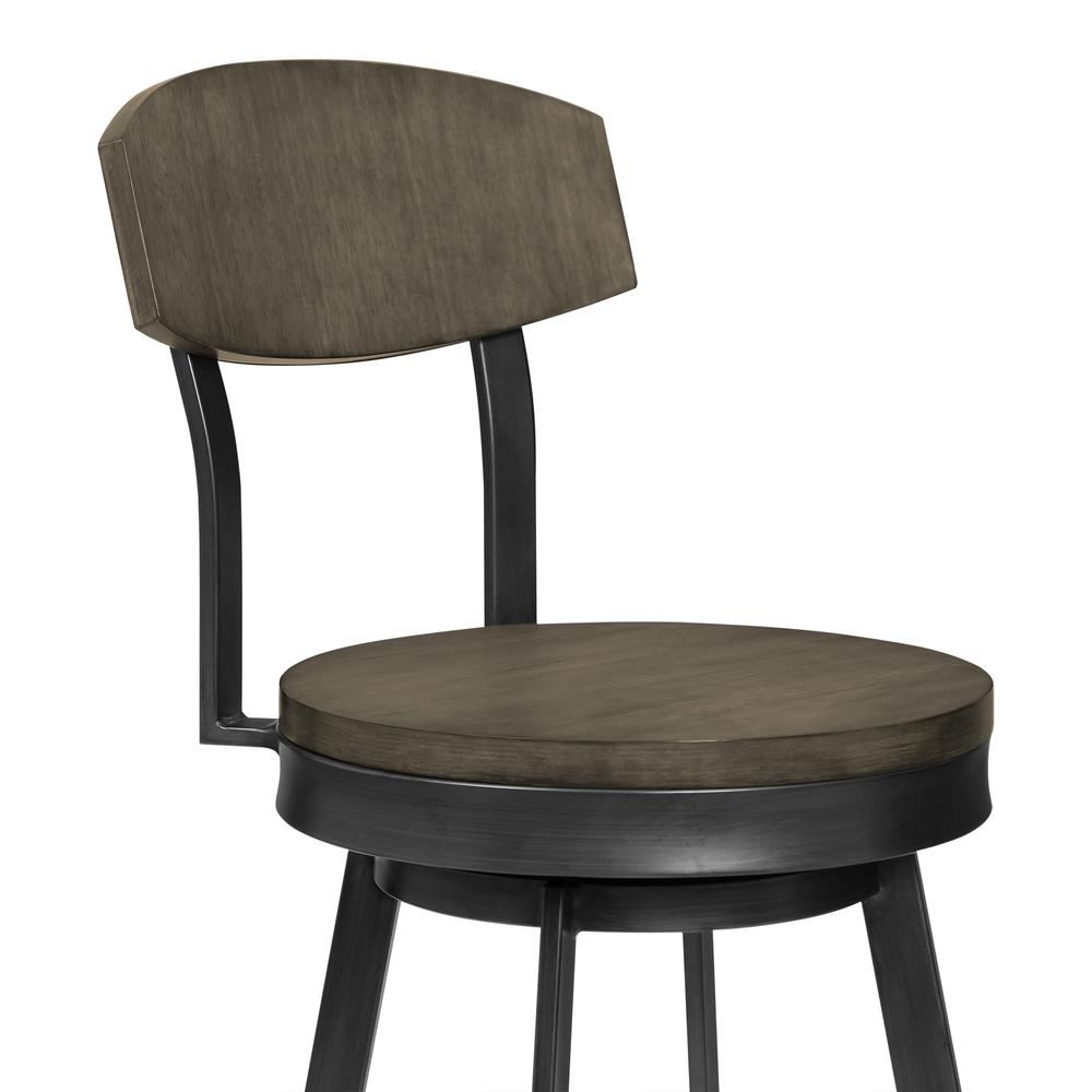 """30"""" Bar Height Barstool in Mineral Finish and Grey Walnut Seat. Picture 3"""
