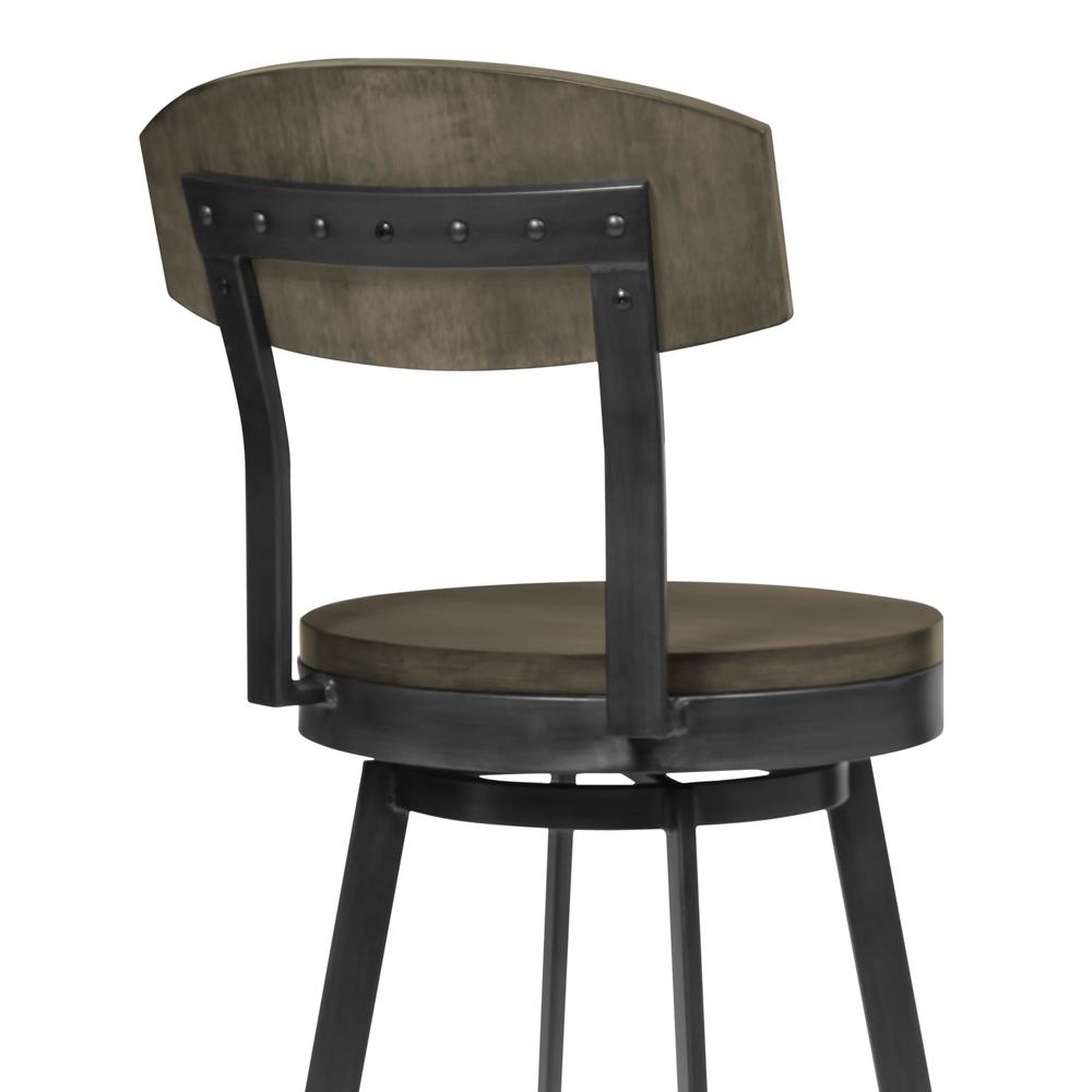 """30"""" Bar Height Barstool in Mineral Finish and Grey Walnut Seat. Picture 4"""