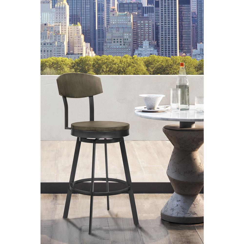 """30"""" Bar Height Barstool in Mineral Finish and Grey Walnut Seat. Picture 6"""