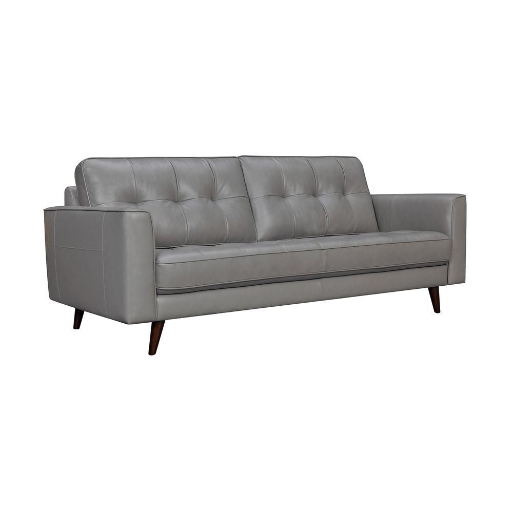 "Daeson 86"" Mid-Century Modern Leather Square Arm Sofa, Grey Dark. Picture 1"