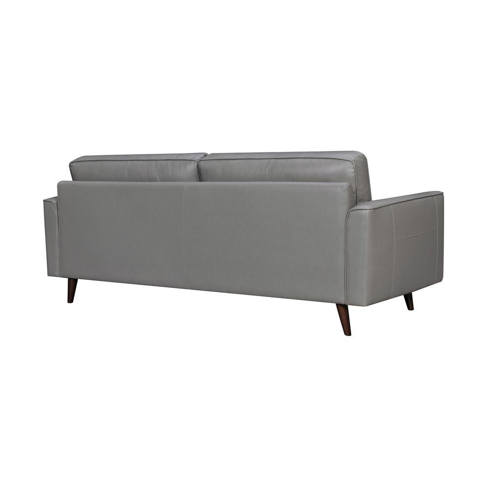 "Daeson 86"" Mid-Century Modern Leather Square Arm Sofa, Grey Dark. Picture 3"