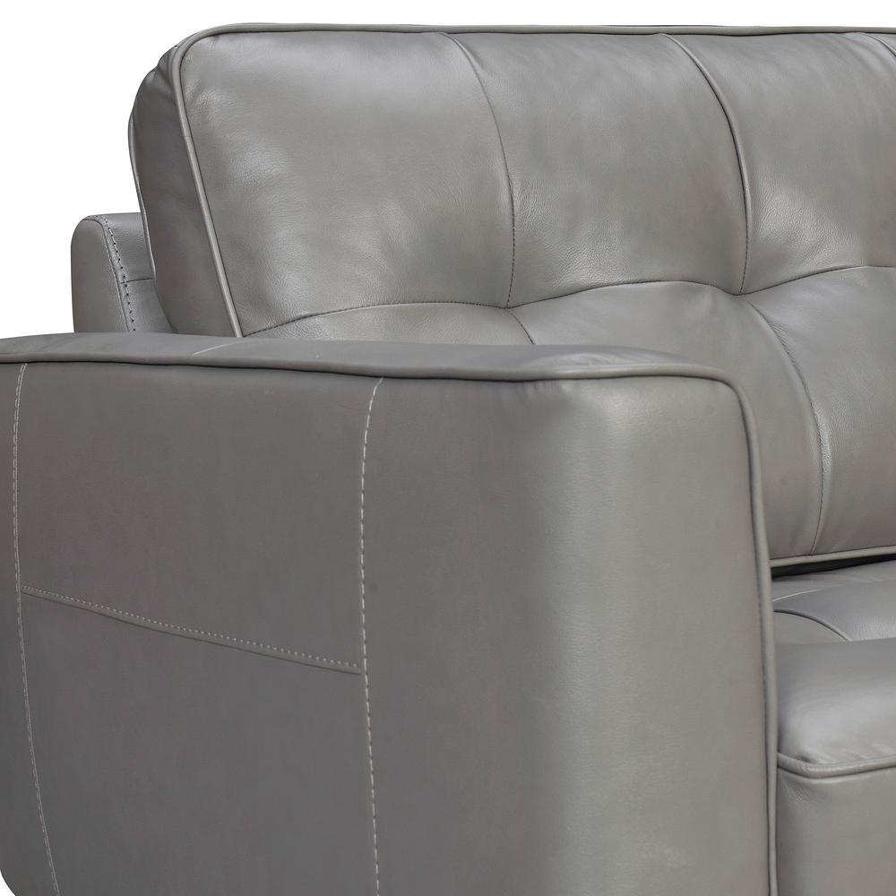 "Daeson 86"" Mid-Century Modern Leather Square Arm Sofa, Grey Dark. Picture 4"