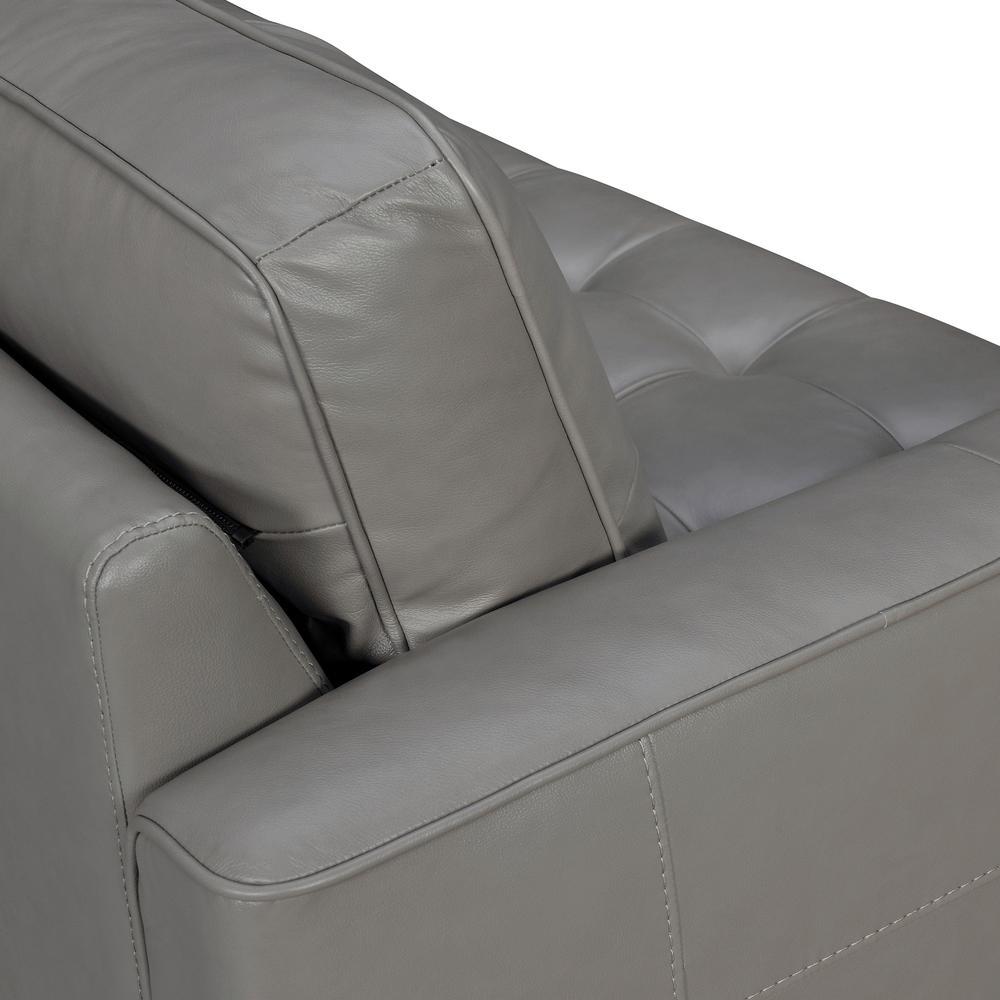 "Daeson 86"" Mid-Century Modern Leather Square Arm Sofa, Grey Dark. Picture 5"