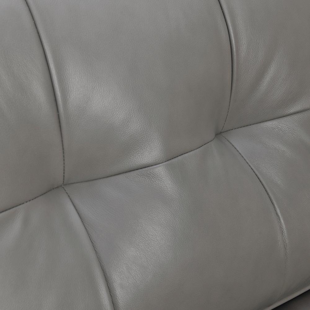 "Daeson 86"" Mid-Century Modern Leather Square Arm Sofa, Grey Dark. Picture 6"