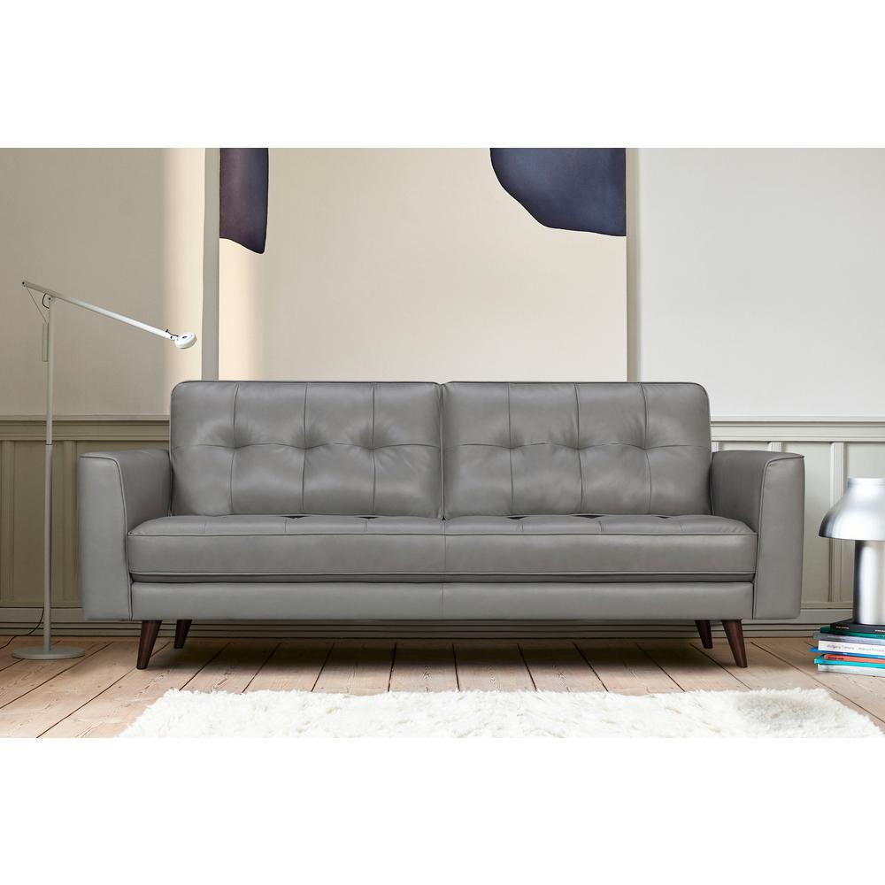 "Daeson 86"" Mid-Century Modern Leather Square Arm Sofa, Grey Dark. Picture 2"