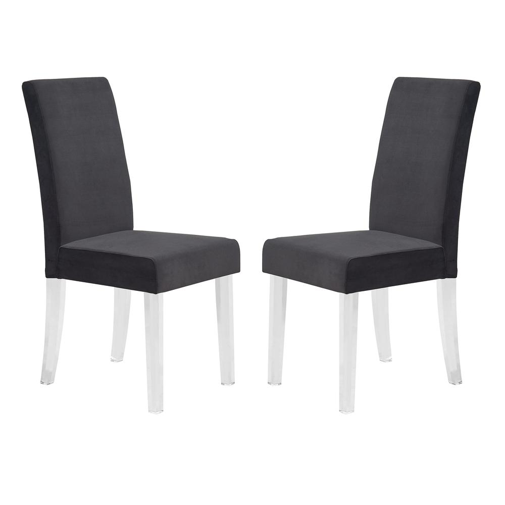 Modern and Contemporary Dining Chair in Black Velvet with Acrylic Legs - Set of 2. Picture 1