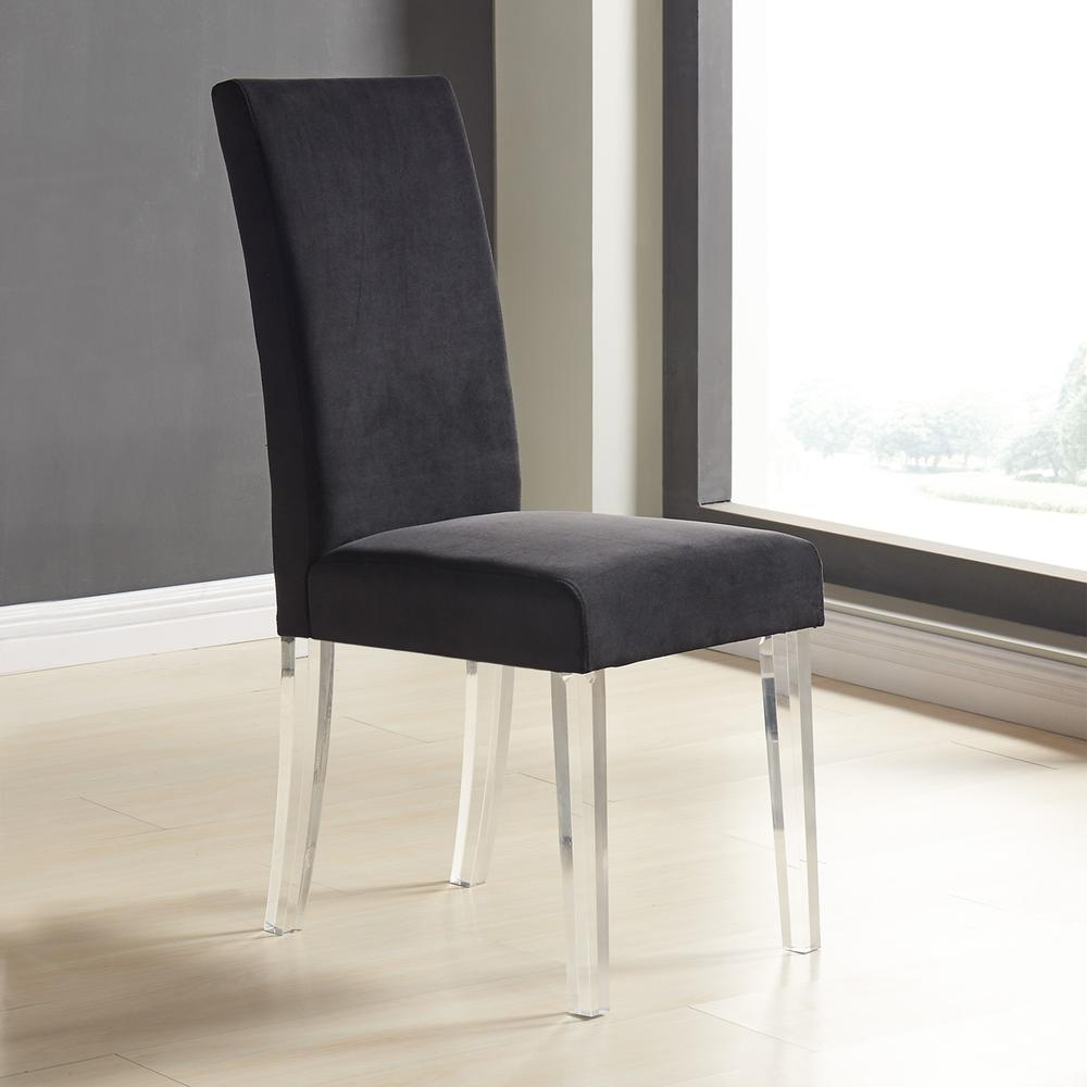 Modern and Contemporary Dining Chair in Black Velvet with Acrylic Legs - Set of 2. Picture 2
