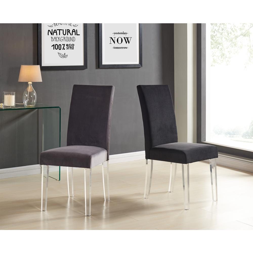 Modern and Contemporary Dining Chair in Black Velvet with Acrylic Legs - Set of 2. Picture 3