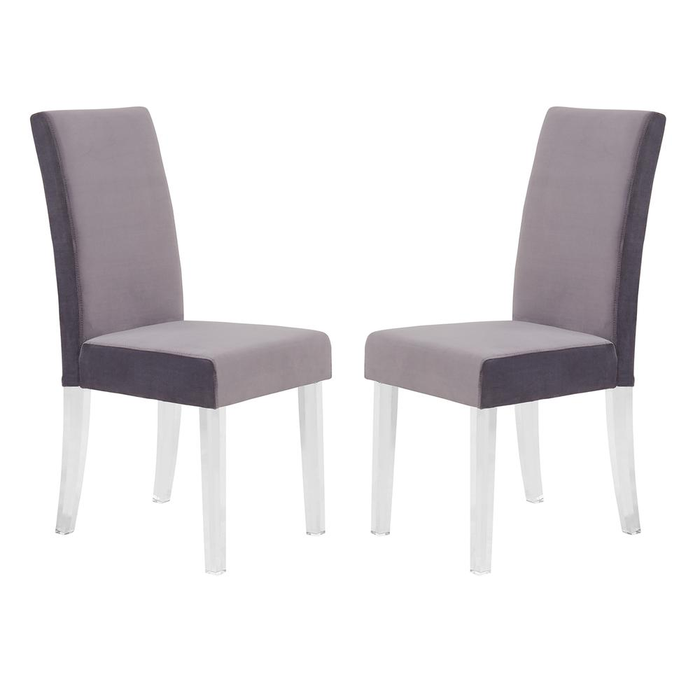 Modern and Contemporary Dining Chair in Gray Velvet with Acrylic Legs - Set of 2. Picture 1