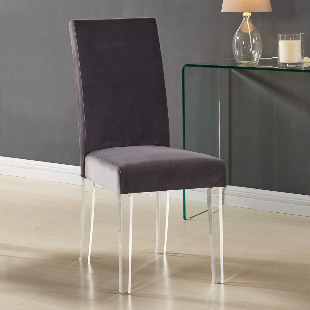 Modern and Contemporary Dining Chair in Gray Velvet with Acrylic Legs - Set of 2. Picture 2