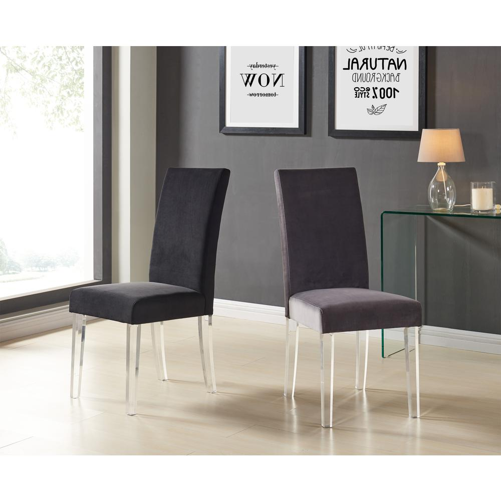 Modern and Contemporary Dining Chair in Gray Velvet with Acrylic Legs - Set of 2. Picture 3