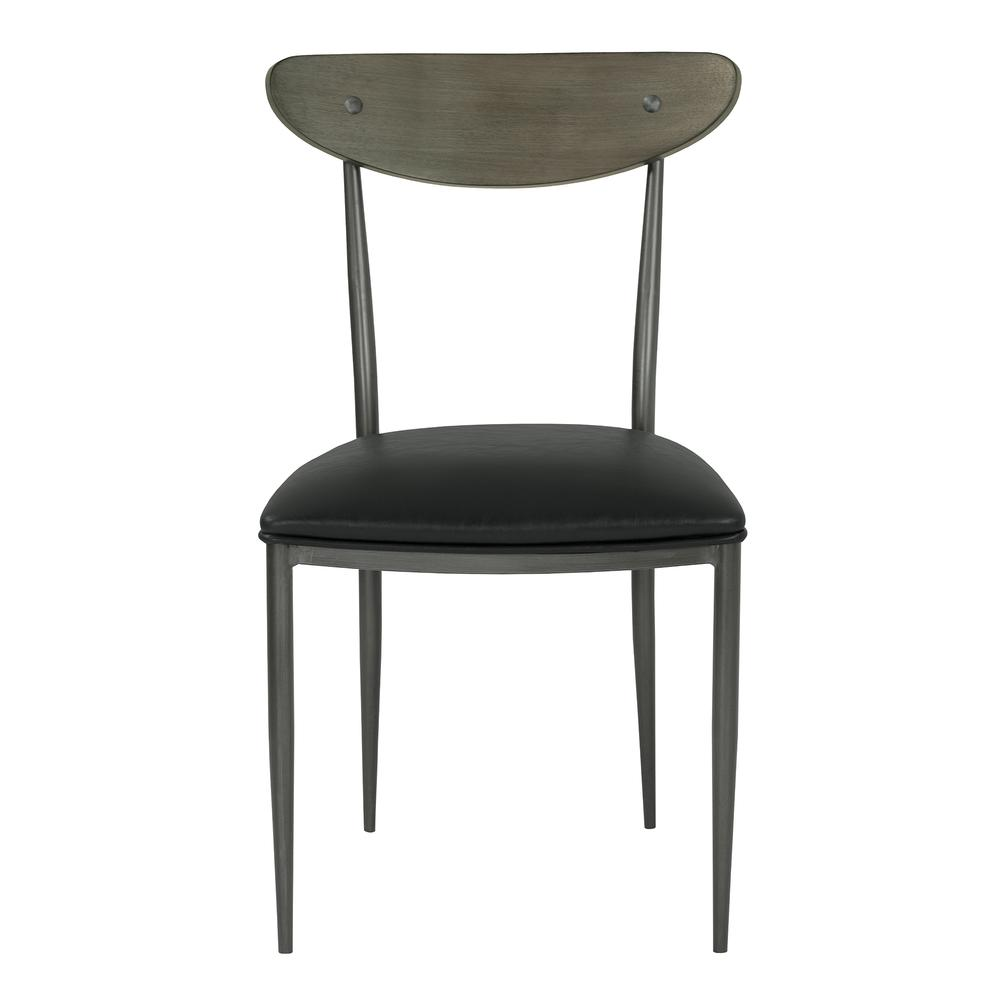 Mid-Century Dining Chair in Mineral Finish with Vintage Black Faux Leather and Grey Walnut Wood Back - Set of 2. Picture 2