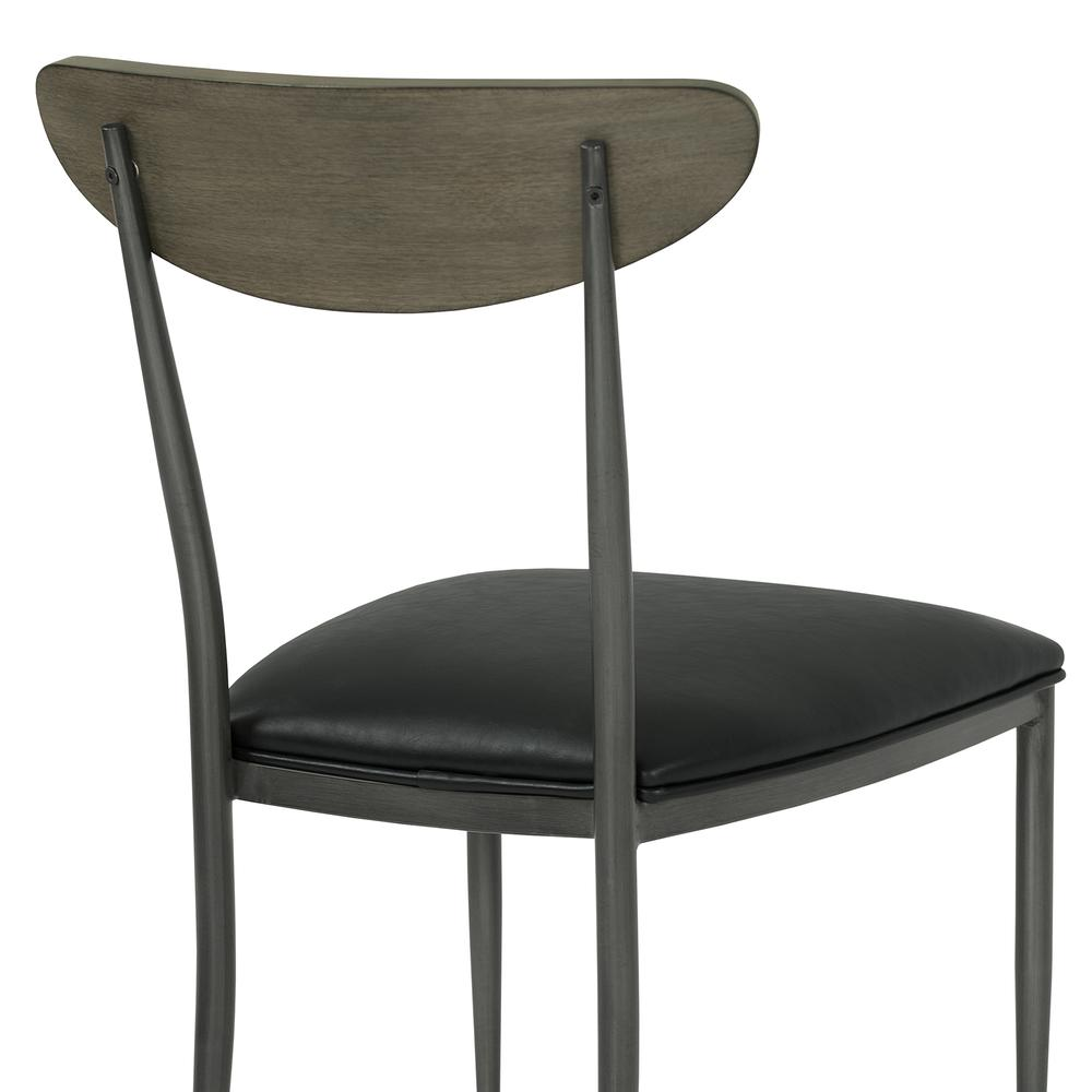 Mid-Century Dining Chair in Mineral Finish with Vintage Black Faux Leather and Grey Walnut Wood Back - Set of 2. Picture 5