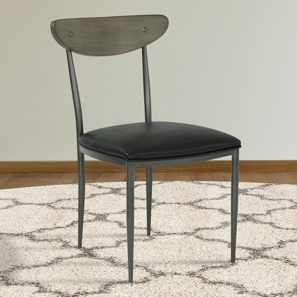 Mid-Century Dining Chair in Mineral Finish with Vintage Black Faux Leather and Grey Walnut Wood Back - Set of 2. Picture 7