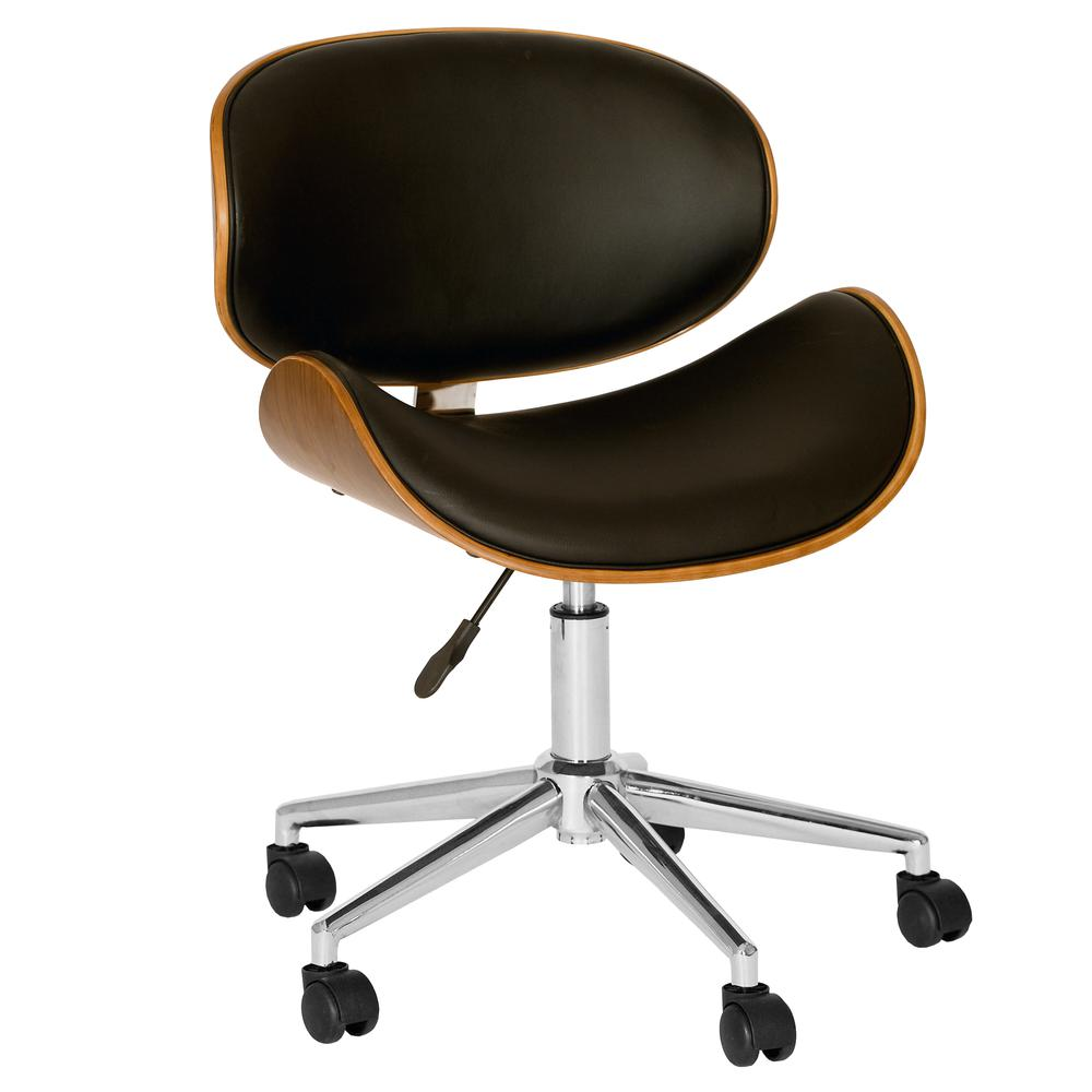 Modern Office Chair In Chrome Finish with Black Faux Leather And Walnut Veneer Back. Picture 1
