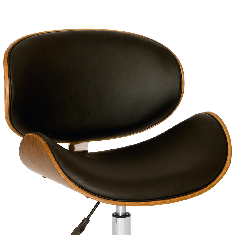 Modern Office Chair In Chrome Finish with Black Faux Leather And Walnut Veneer Back. Picture 2