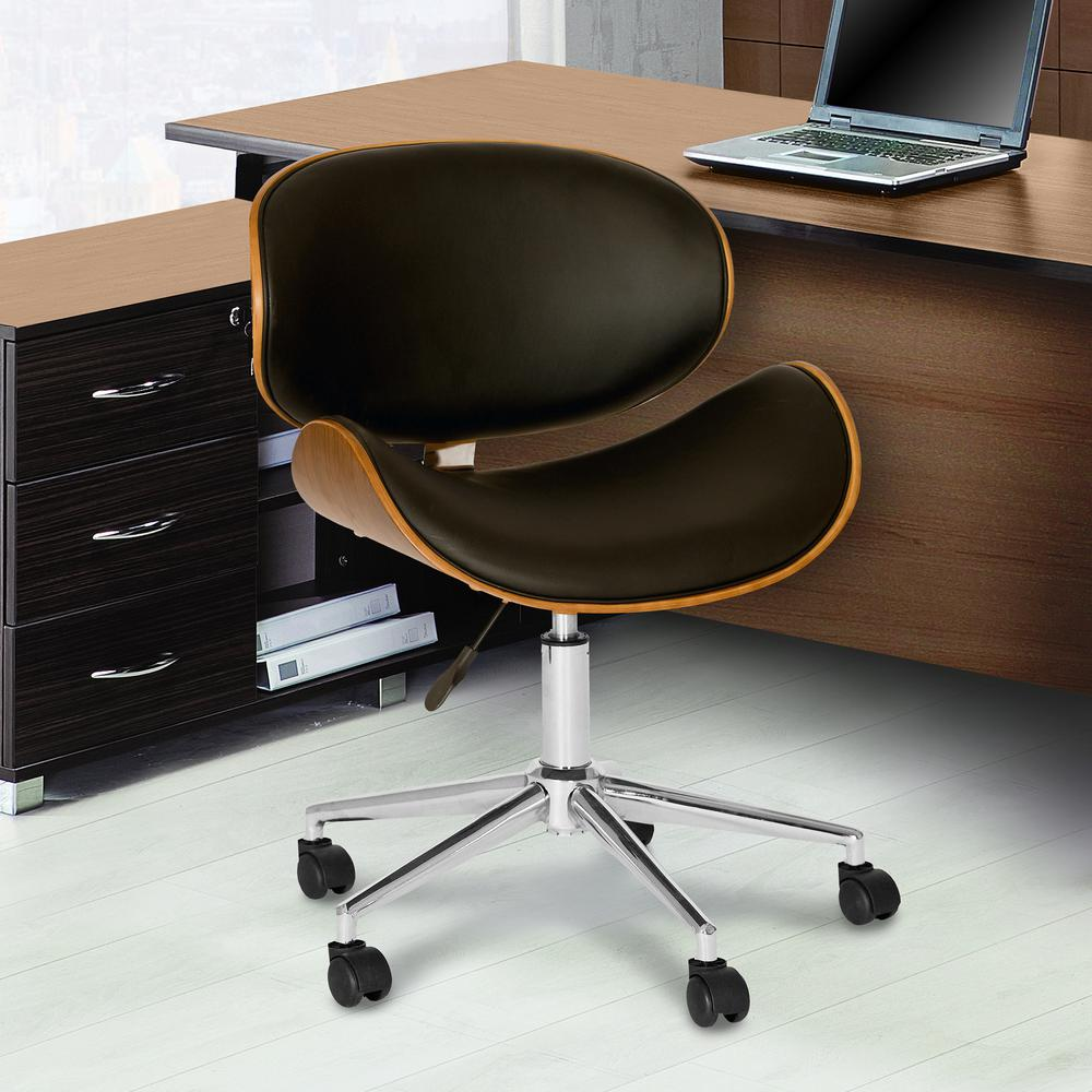 Modern Office Chair In Chrome Finish with Black Faux Leather And Walnut Veneer Back. Picture 4