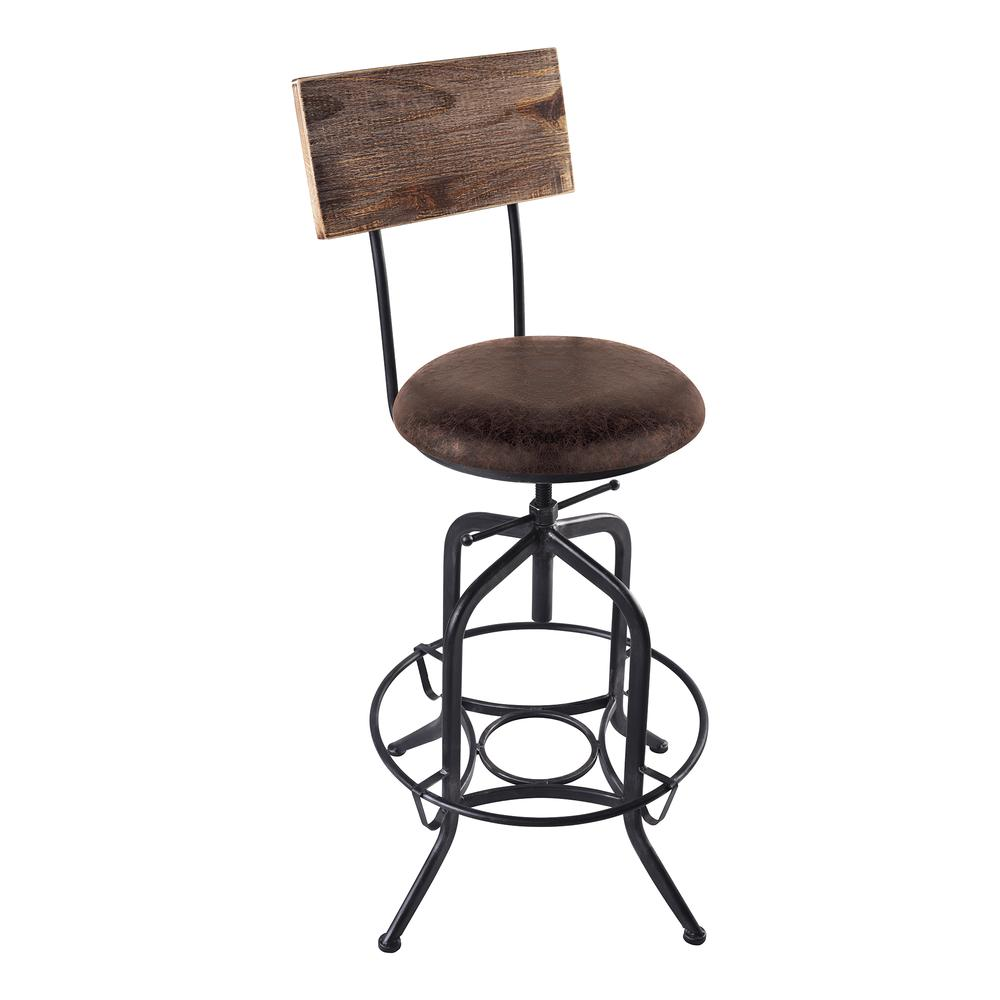 Armen Living Damian Adjustable Barstool Metal in Industrial Grey Finish with Brown Fabric Seat. Picture 1