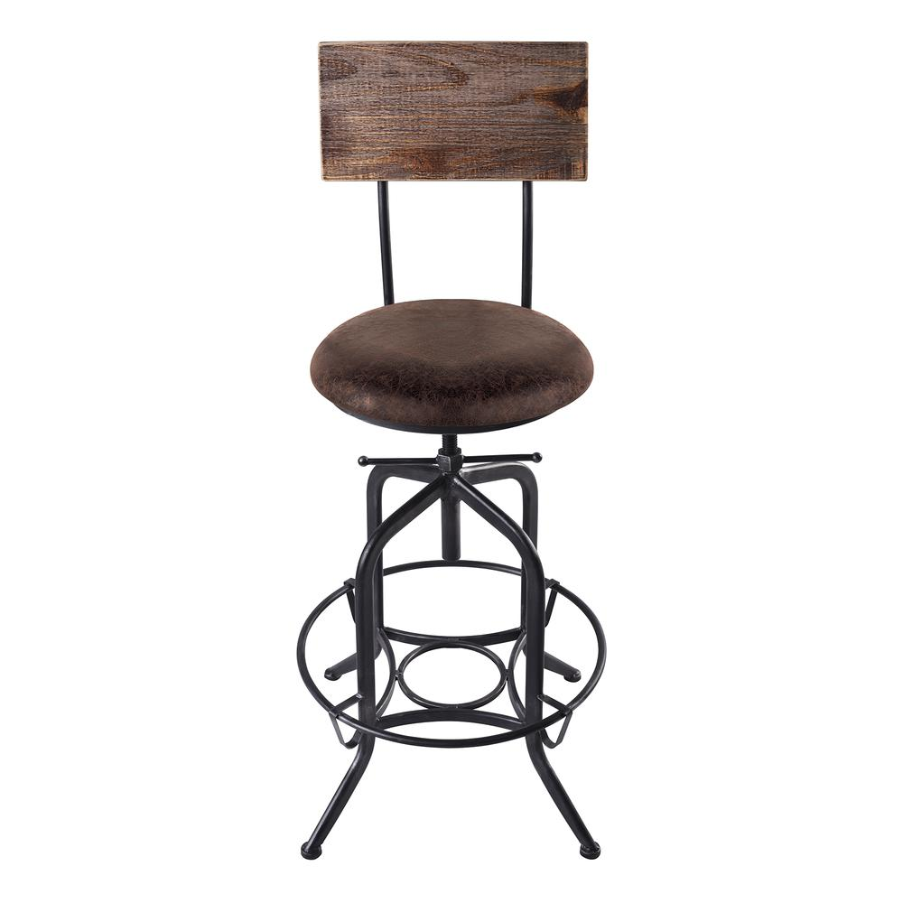 Armen Living Damian Adjustable Barstool Metal in Industrial Grey Finish with Brown Fabric Seat. Picture 2