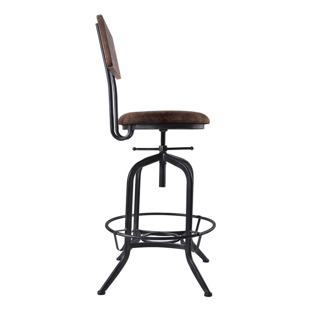 Armen Living Damian Adjustable Barstool Metal in Industrial Grey Finish with Brown Fabric Seat. Picture 3