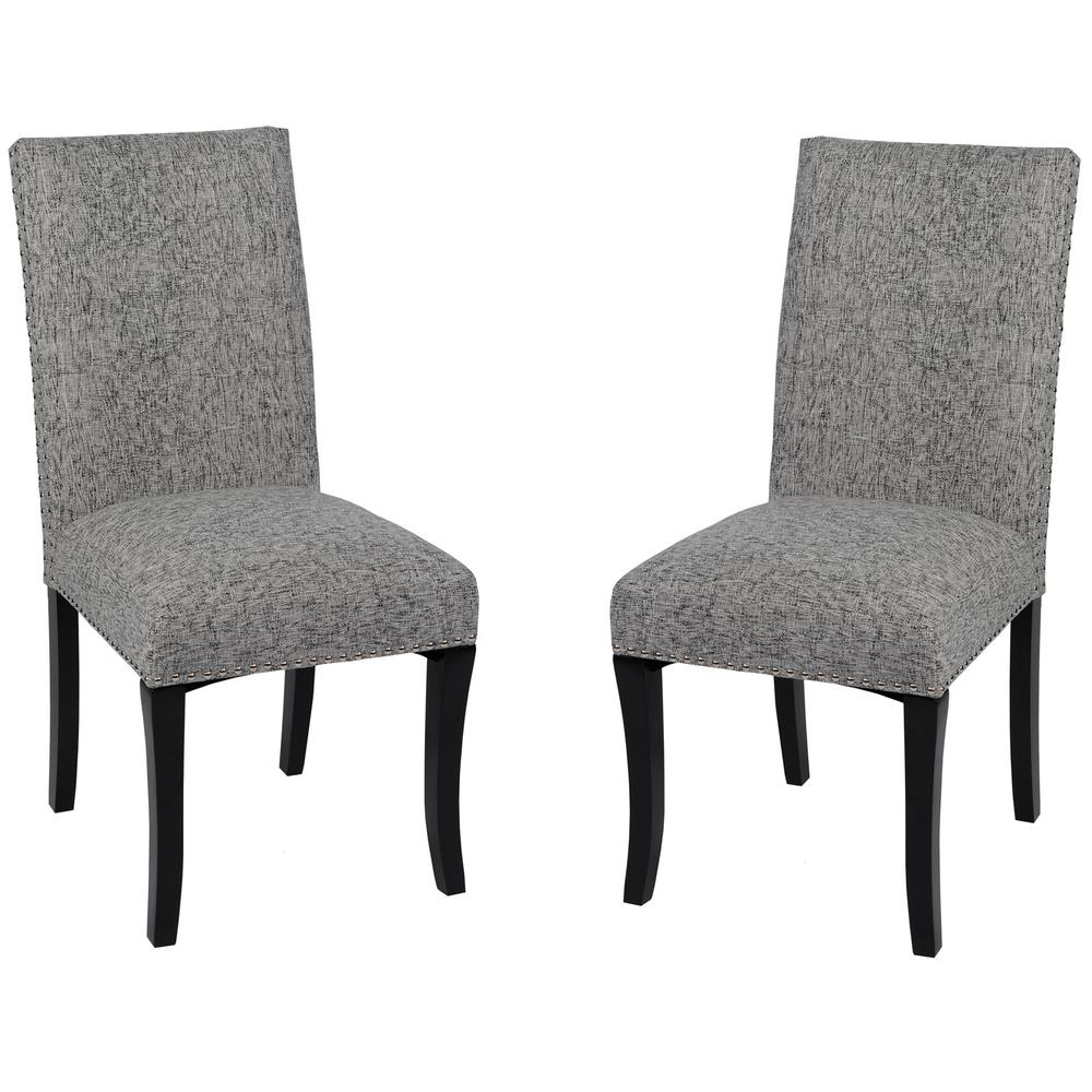 Deborah Accent Nail Side Chair In Ash Fabric - Set of 2. Picture 1