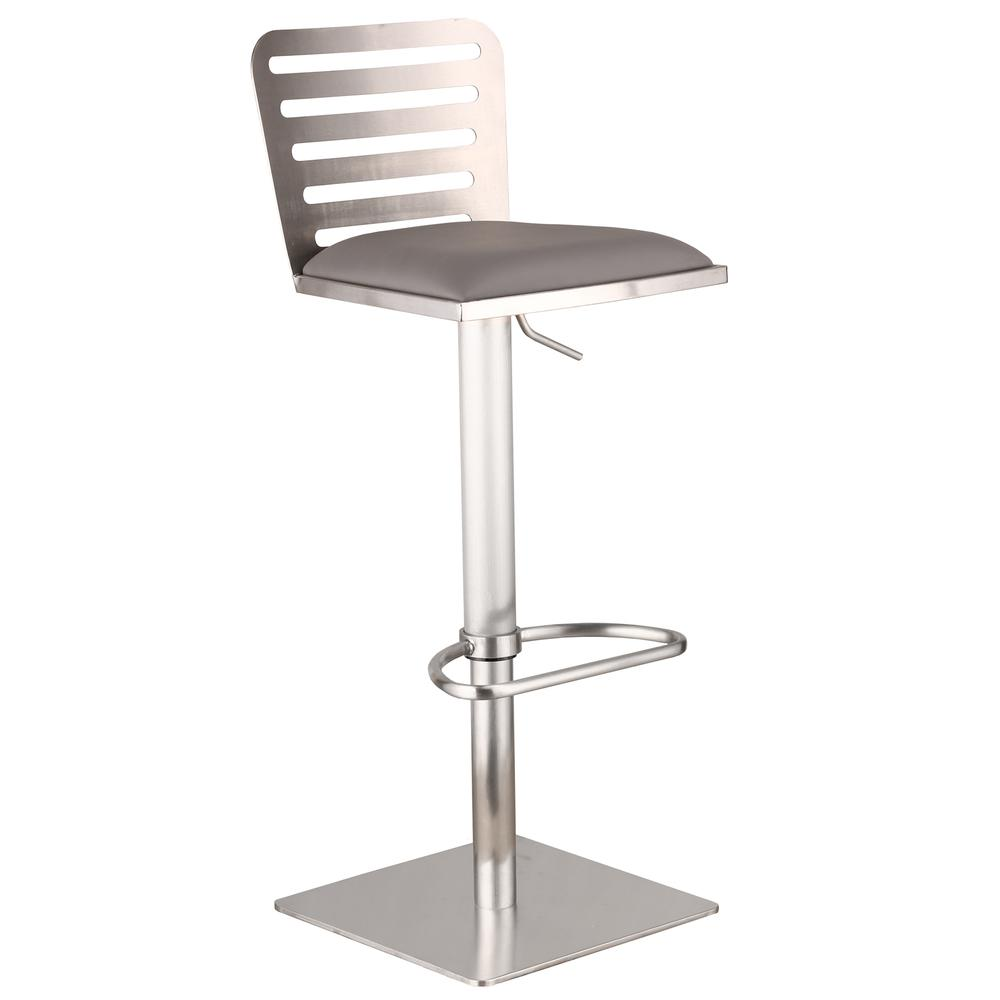 Armen Living Delmar Adjustable Brushed Stainless Steel Barstool in Gray Faux Leather. Picture 1